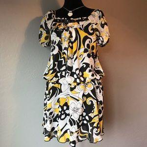 Disorderly Kids yellow and black print dress Sz 14